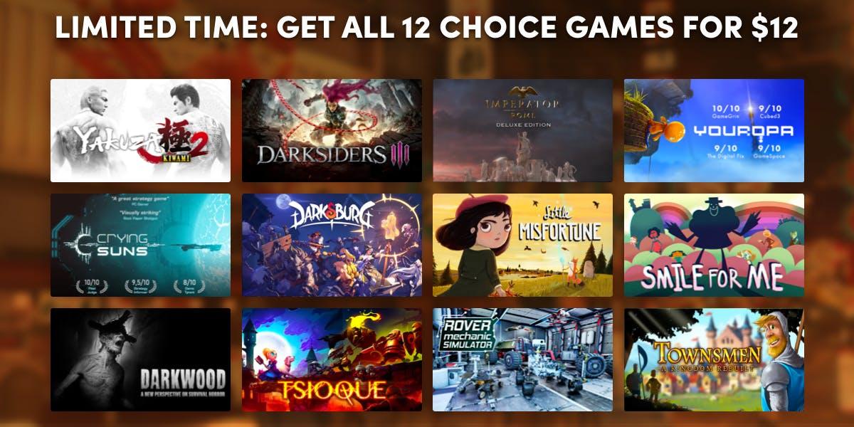 Get all 12 games when you subscribe to Choice Premium.. Na HumbleBundle możesz wybrać jeden z kilku pakietów ebooków w języku angielskim. Czasem cena za najniższy pakiet to nawet 1 dolar. Oprócz tego możesz wesprzeć organizację charytatywną